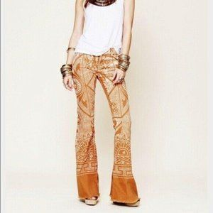 Free People Discharge Bali Flare Printed Jeans